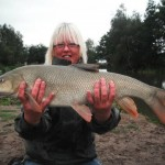 Sharon Bradley with a 14lb 8oz Barbel from Heronbrook Fisheries North Staffs - Nice one Sharon!